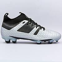 Бутсы футбольная обувь с носком 181239-4 SILVER/BLACK размер 40-45 серебряный-черный