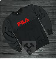 Спортивная кофта Фила, Мужская кофта Fila, черная, трикотажная, реглан, свитшот