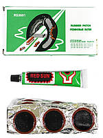Латки для ремонта камер + клей RS3601 круглые латки 36шт Ø 24мм велоаптечка, фото 1