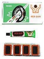 Латки для ремонта камер + клей RS4803 прямоугольные латки 48шт (26х16мм) велоаптечка