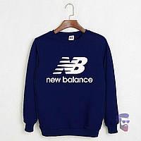 Спортивна кофта Нью Беленс, Чоловіча кофта New Balance, темно-синя, трикотажна, реглан, світшот