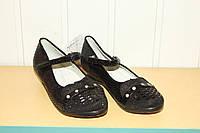 Туфли на девочку черные на танкетке 32-36 со стразами