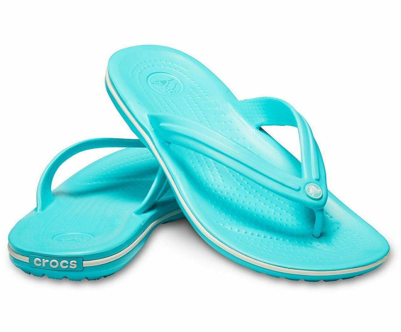 Вьетнамки женские Кроксы Крокбенд Флип оригинал / Crocs Crocband Flip (11033), Голубые