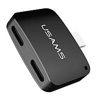 Переходник Usams US-SJ138 Dual Lightning Adapter Black