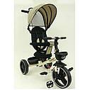 Велосипед-коляска детский трехколесный  Turbo Trike М 5447 PU-7 бежевый лен, фото 2