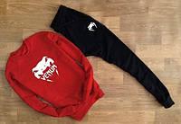 Спортивный костюм Венум, мужской костюм Venum черный, красная толстовка, трикотажный