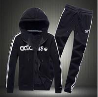 Спортивный костюм Адидас, мужской костюм Adidas, черный костюм, с капюшоном, с лампасами, трикотажный