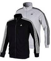 Спортивный костюм Адидас, мужской костюм Adidas, черный и серый костюм с лампасами, трикотажный