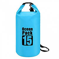 Водонепроницаемая сумка рюкзак гермомешок O-Pack 15л Blue (OP46115)