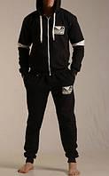 Спортивный костюм Венум, мужской костюм Venum, черный, кенгуру, хлопковый, трикотажный