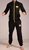 Спортивный костюм Венум, мужской костюм Venum, черный, желтые вставки, трикотажный