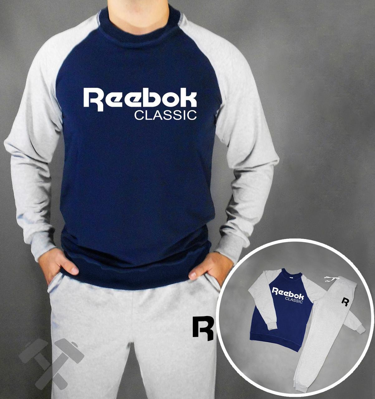 Спортивний костюм Рібок, чоловічий костюм Reebok Classic сірий, трикотажний
