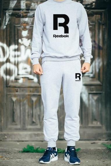 Спортивный костюм Рибок, мужской костюм Reebok серый, трикотажный