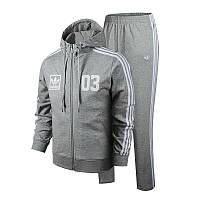 Спортивный костюм Адидас, мужской костюм Adidas, серый костюм, с капюшоном, с лампасами, трикотажный