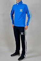 Спортивный костюм Адидас, мужской костюм Adidas, голубая кофта, черные штаны, с лампасами, трикотажный