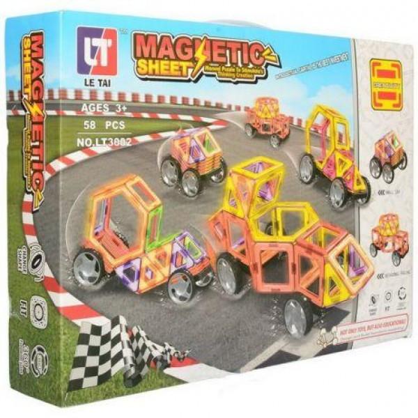Детский магнитный Конструктор Машинки 58 деталей Magnetic LT3002