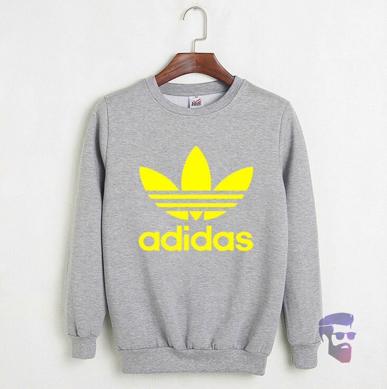 Спортивна кофта Адідас, Чоловіча кофта Adidas, світло сіра, меланж, трикотажна, реглан, світшот