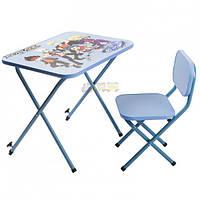 Парта складная со стульчиком регулируемая Ommi Бейблэйд голубая