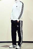 Спортивный костюм Адидас, мужской костюм Adidas, белая кофта, черные штаны, с лампасами, трикотажный