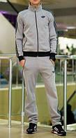 Спортивний костюм Адідас, чоловічий костюм Adidas, сірий на блискавці, трикотажний