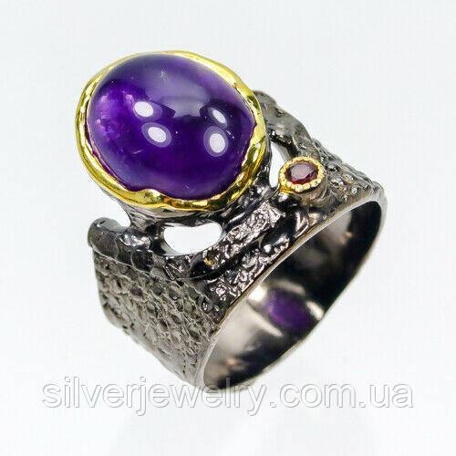 Серебряное кольцо с АМЕТИСТОМ (натуральный), серебро 925 пр. Размер 17,5