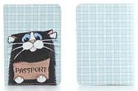 """Обложка на паспорт из мягкой кожи """"Кот"""""""