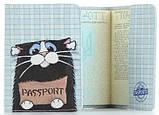 """Обложка на паспорт из мягкой кожи """"Кот"""", фото 2"""