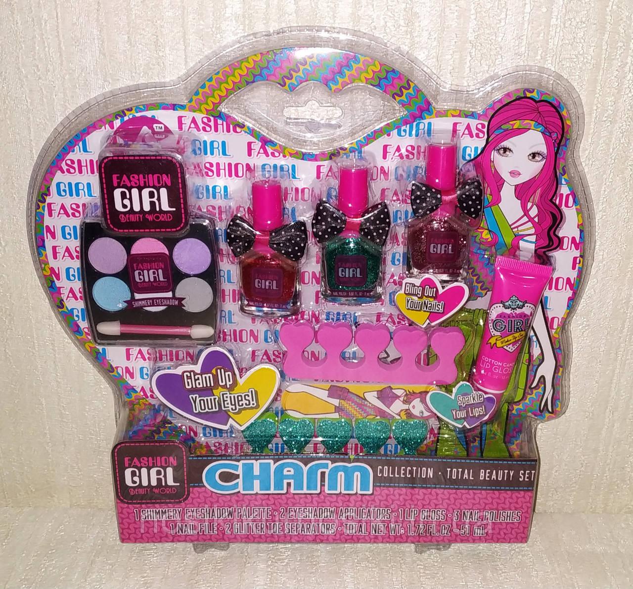 Детский маникюрный набор — лак для ногтей с блестками, пилочка, блеск для губ, тени арт 81025