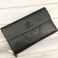 Мужской кожаный кошелек клатч Versace черный (реплика)