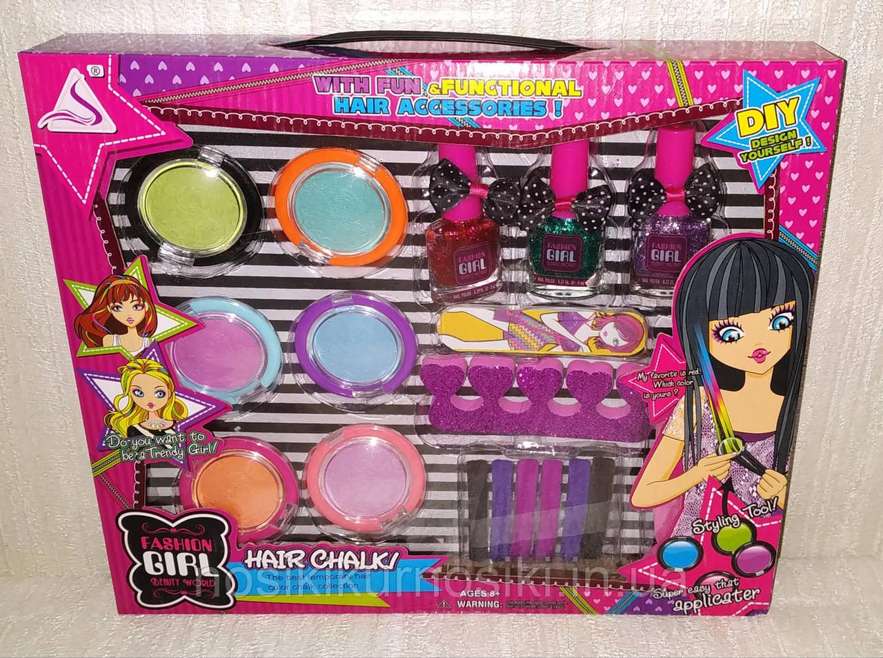 Детский маникюрный набор — лак для ногтей с блестками, пудра для волос, резинки для волос