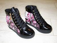 Д411 - Женские ботиночки сникерсы черные, синие Vogue