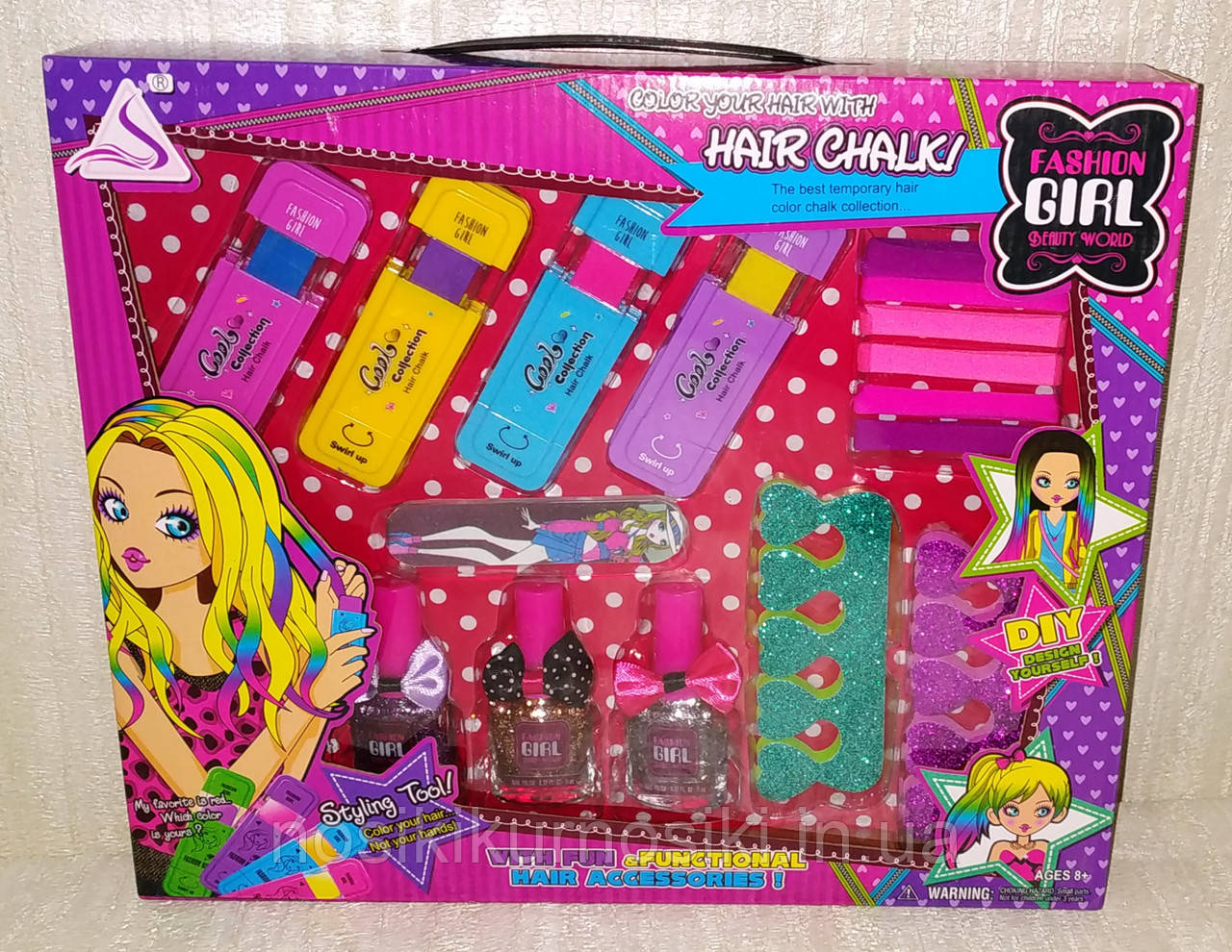 Дитячий манікюрний набір — лак для нігтів з блискітками, кольорові олівці для волосся, гумки для волосся