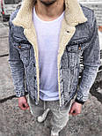 😜Джинсовая куртка серая с белым мехом, фото 2