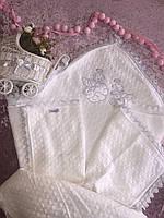Крыжма-одеялко для крещения и выписки теплая с апликацией ангелы