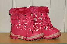 Чобітки з хутром на дівчинку рожеві 22-27