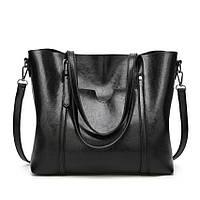 Большая вместительная черная сумка женская код 3-409-1