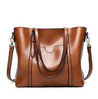 Большая вместительная рыжая сумка женская код 3-409-1