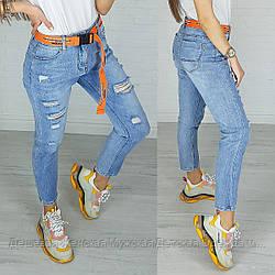 3590 New jeans мом голубой с царапками весенний коттоновый (25-30, 6 ед.)