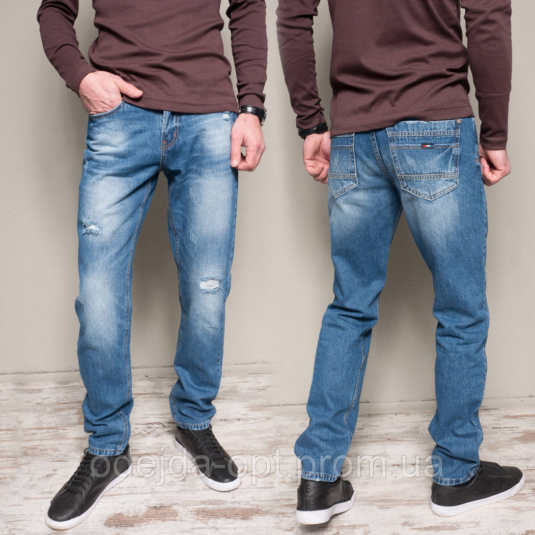 9902-3 R Relucky джинсы мужские с царапками синие весенние стрейчевые (29-38, 8 ед.)