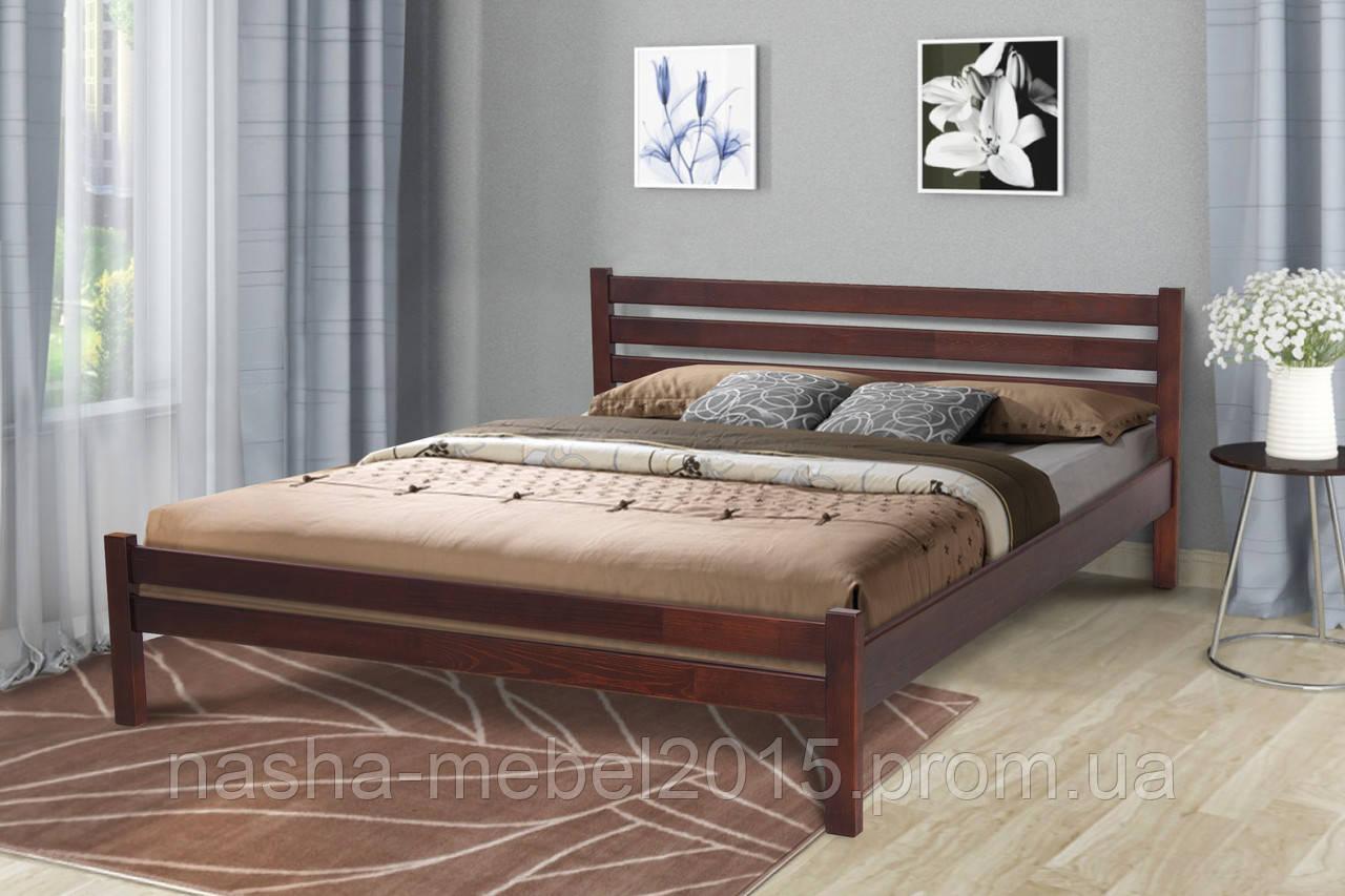 Кровать двуспальная деревянная Екко 1,6 темный орех