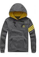 Мужская толстовка Адидас, спортивная кофта Adidas, серая, трикотажная, с капюшеном, кенгуру