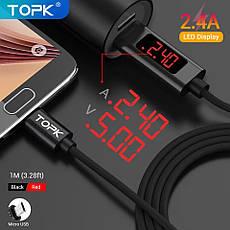 Оригинальный кабель TOPK D-Line1 CS2711 Micro-USB 2.4A дисплей напряжения и тока Black (CS0127110312), фото 3