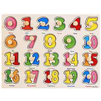 Деревянная игрушка Рамка-вкладыш с ручкой «Цифры» от 1 до 20, развивающие товары для детей.