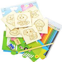 Деревянная игрушка Детский набор для творчества «Трафареты», развивающие товары для детей.