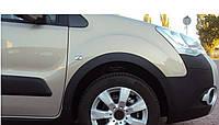 Citroen Berlingo 2008-2018 гг. Накладки на арки (4 шт, черные) 2 боковых двери, Пластик