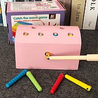Деревянная игрушка Магнитная рыбалка «Гусенички» (розовая), развивающие товары для детей.