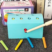 Деревянная игрушка Магнитная рыбалка «Гусенички» (голубая), развивающие товары для детей.
