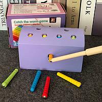 Деревянная игрушка Магнитная рыбалка «Гусенички» (фиолетовая), развивающие товары для детей.