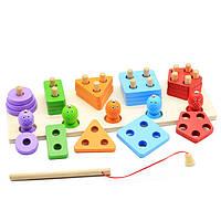 Деревянная игрушка Сортер-рыбалка «Геофигуры», развивающие товары для детей.
