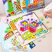 Деревянная игрушка Мозаика-картинки «Цветные шарики», развивающие товары для детей.